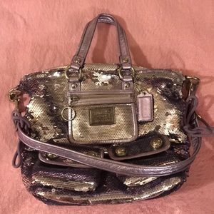 Like new Coach poppy sequin lavender satchel
